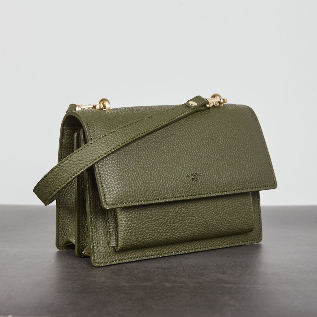 Eloise Satchel with Signet in Deep Olive