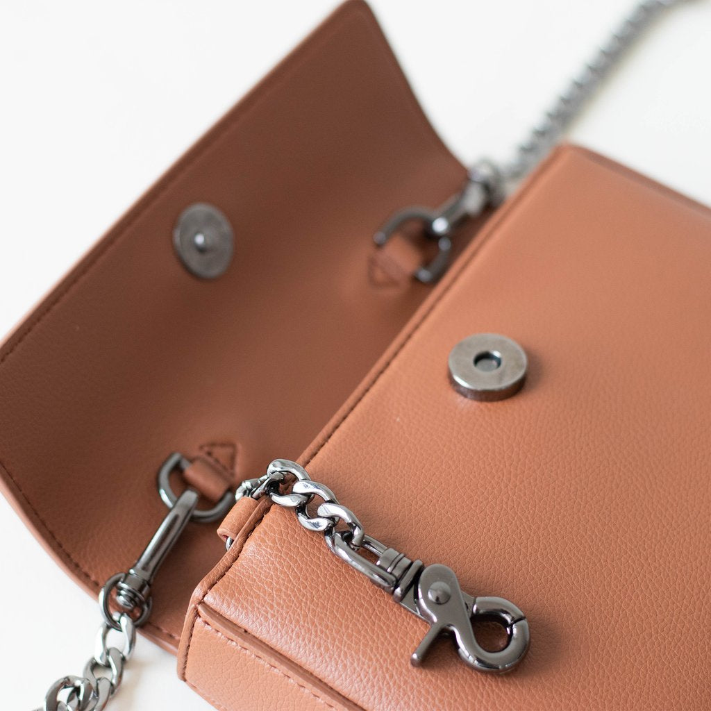 Angela Roi Vegan Hamilton Mini Chain Cross-body in Brown, hardware
