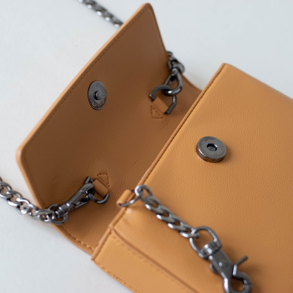 Angela Roi Vegan Hamilton Mini Chain Cross-body in Mustard, hardware