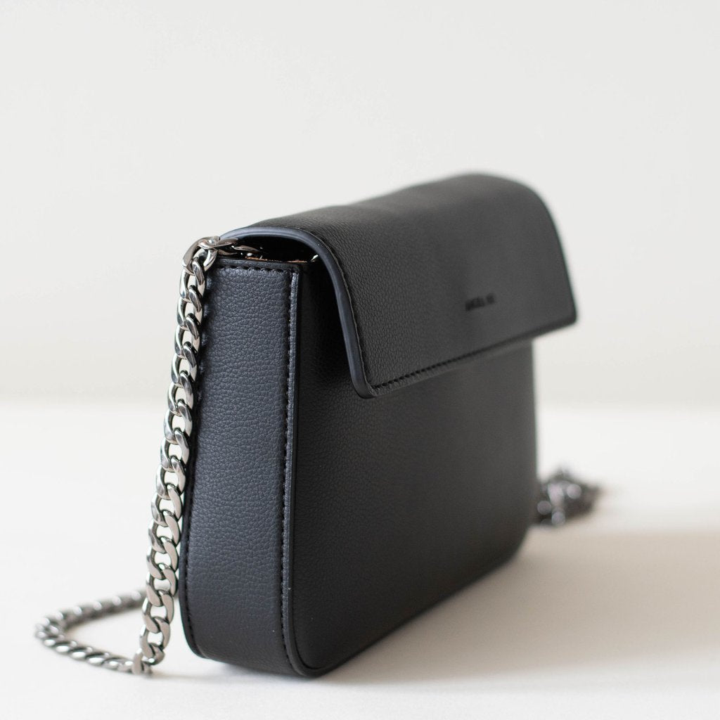 Angela Roi Vegan Hamilton Mini Chain Cross-body in Black, 3/4 view