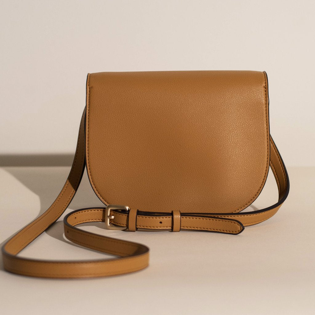 Angela Roi Vegan Hamilton Round Cross-body in Mustard, bottom view