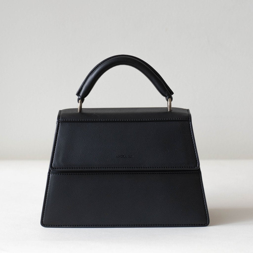 Angela Roi Vegan Hamilton Satchel in Black, front view without strap