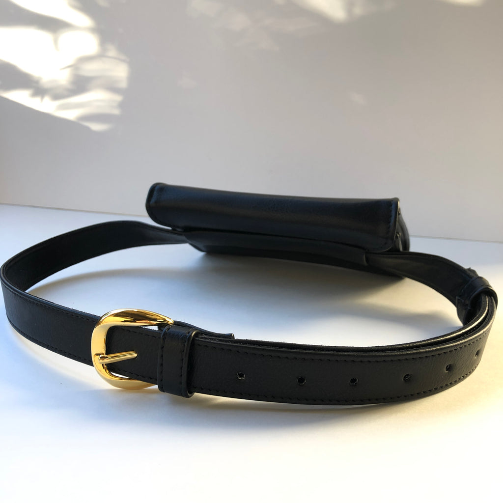 Ceibo Handcrafted Belt Bag in Black, back view