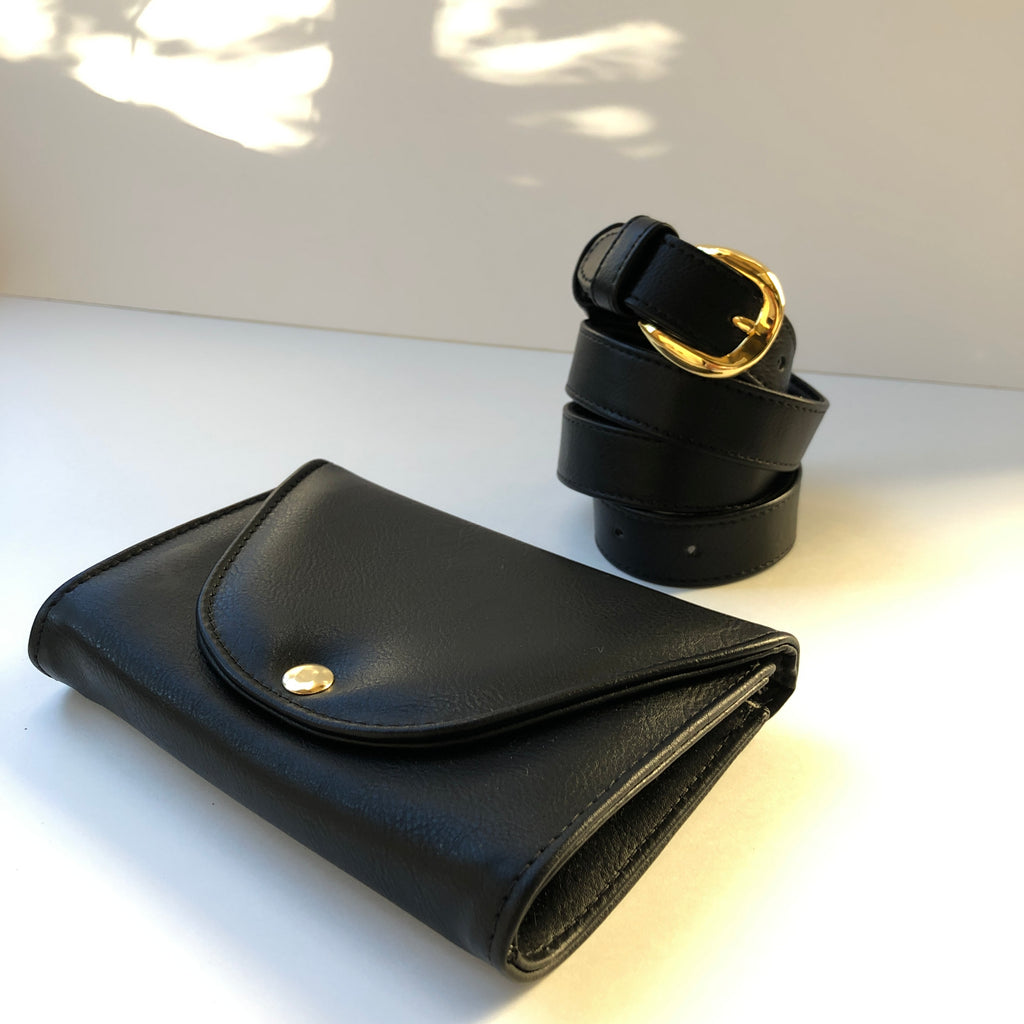 Ceibo Handcrafted Belt Bag in Black, beside strap