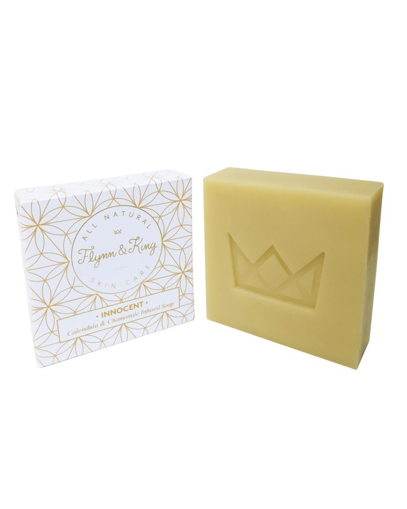 Flynn & King Innocent Calendula and Chamomile Infused Soap, 5 oz bar next to packaging
