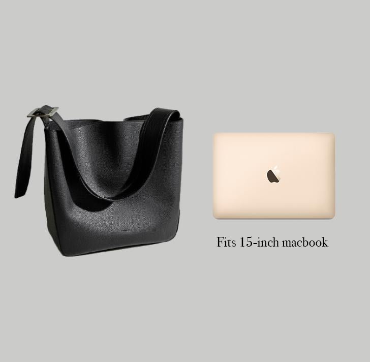 Angela Roi Vegan Jane Shoulder in Ash Brown, side-by-side with Macbook