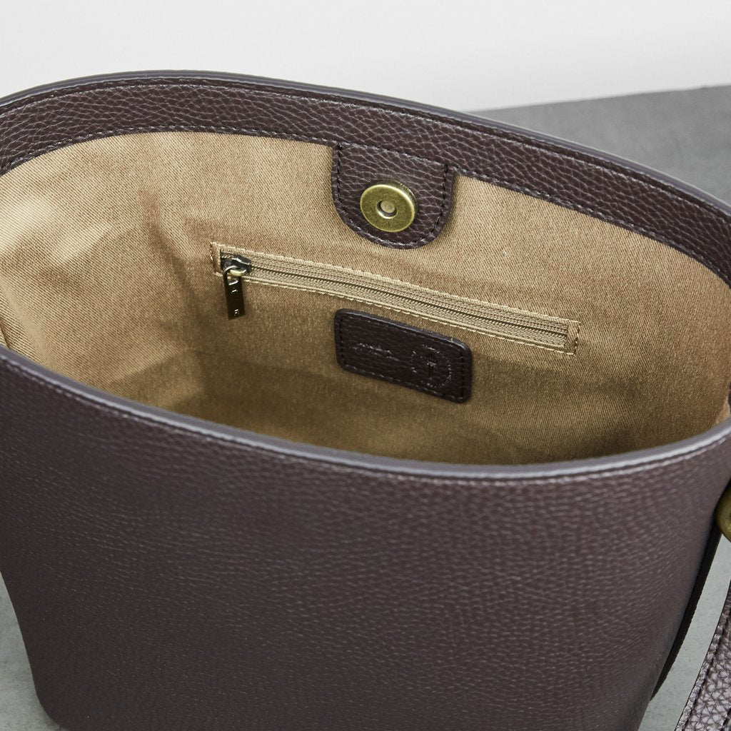 Angelou Mini Bucket with Signet in Dark Brown