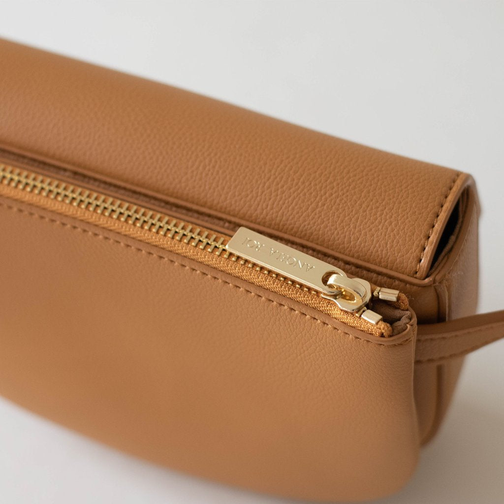 Hamilton Belt Bag / Cross-body in Mustard top view closed