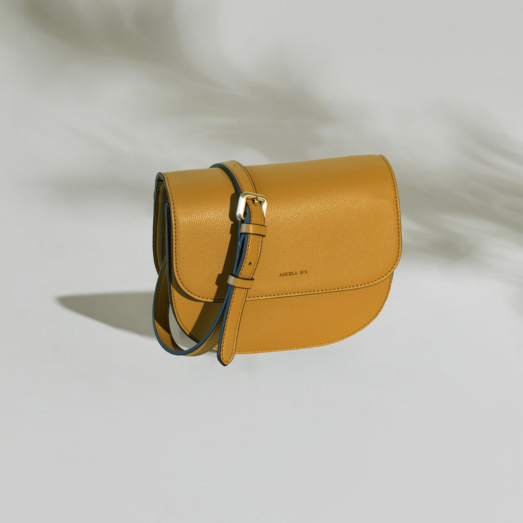 Angela Roi Vegan Hamilton Round Cross-body in Mustard, front view