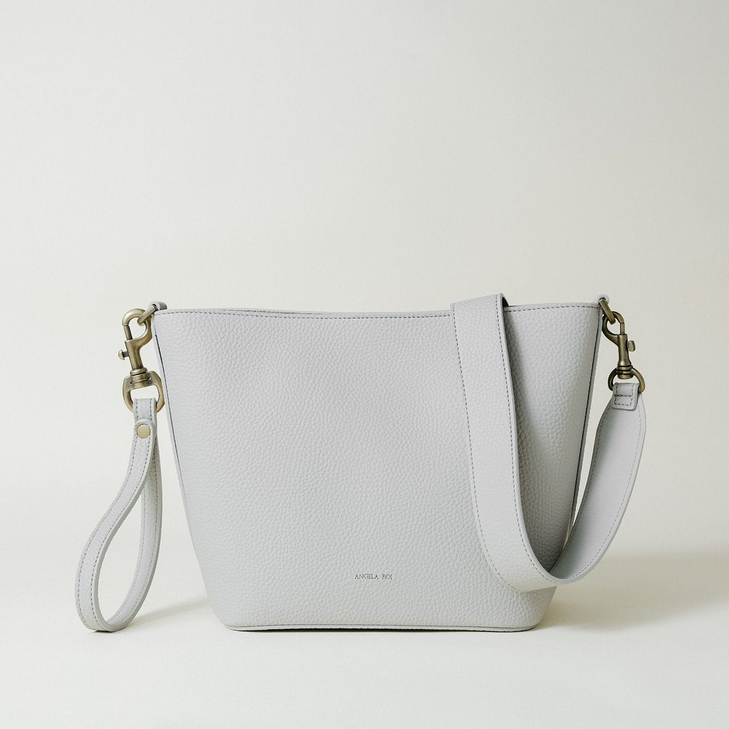 Angelou Mini Bucket with Signet in Light Gray