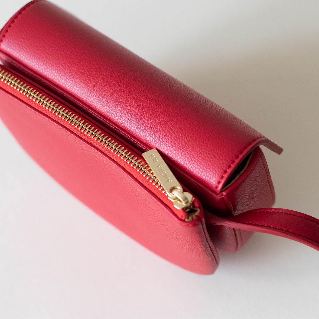 Hamilton Belt Bag / Cross-body in Red top view closed