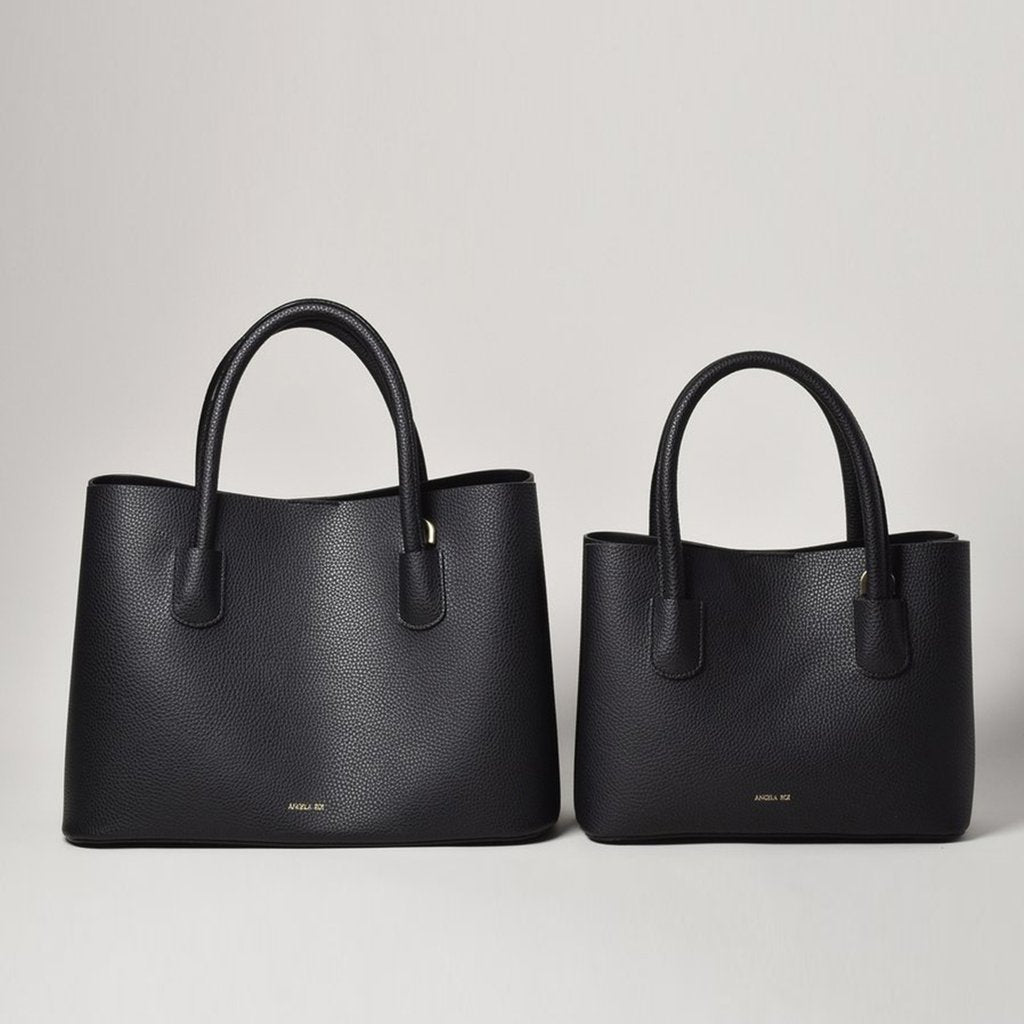 Angela Roi Vegan Cher Tote Mini in Black, side-by-side with full size Cher bag