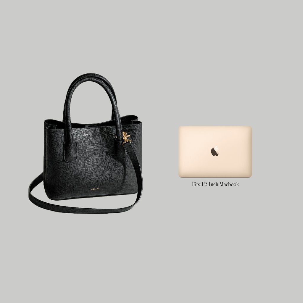 Angela Roi Vegan Cher Tote Mini in Black, side-by-side with Macbook