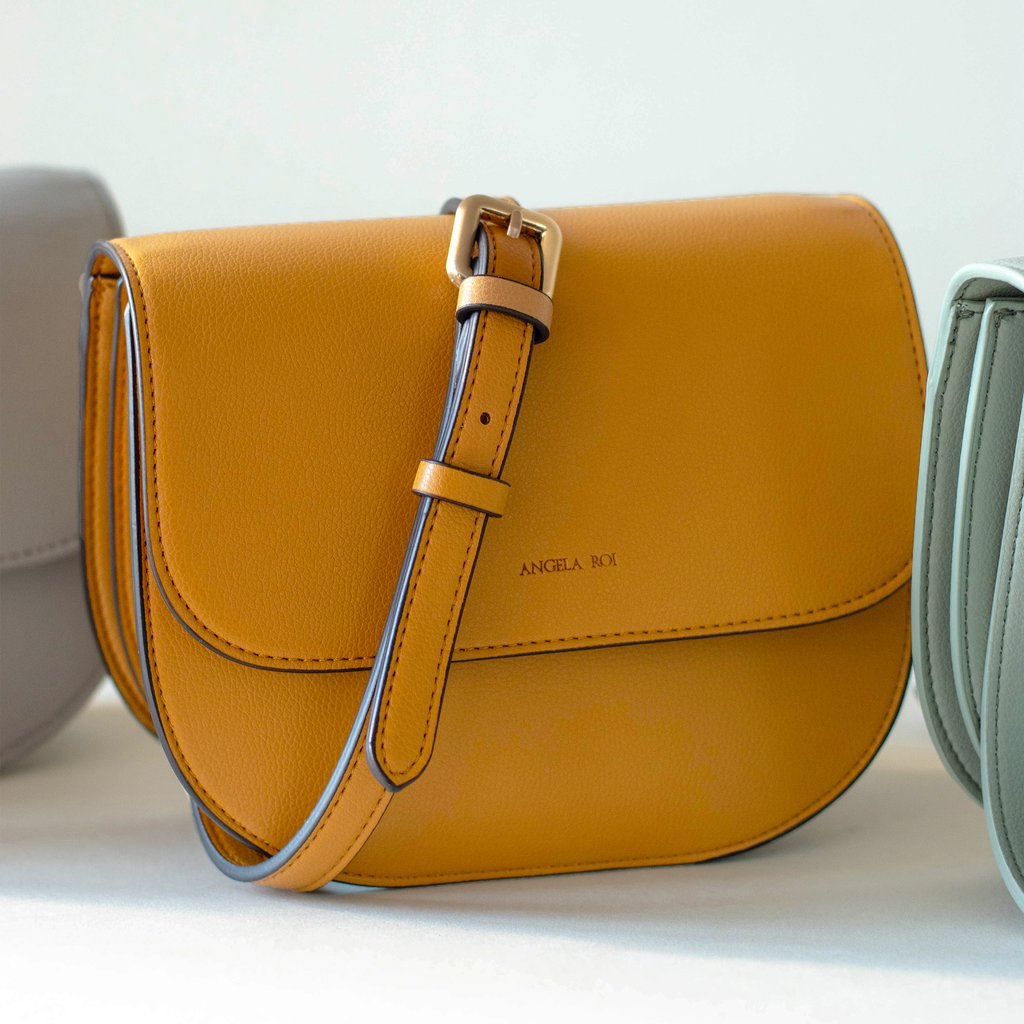 Angela Roi Vegan Hamilton Round Cross-body in Mustard, with other colors
