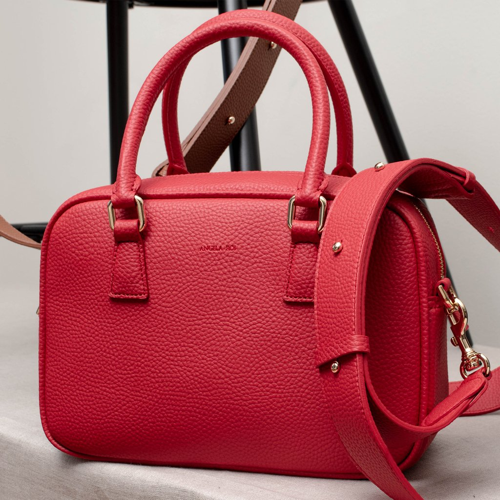 Angela Roi Vegan Barton Duffle Tote in Red, 3/4 view with strap