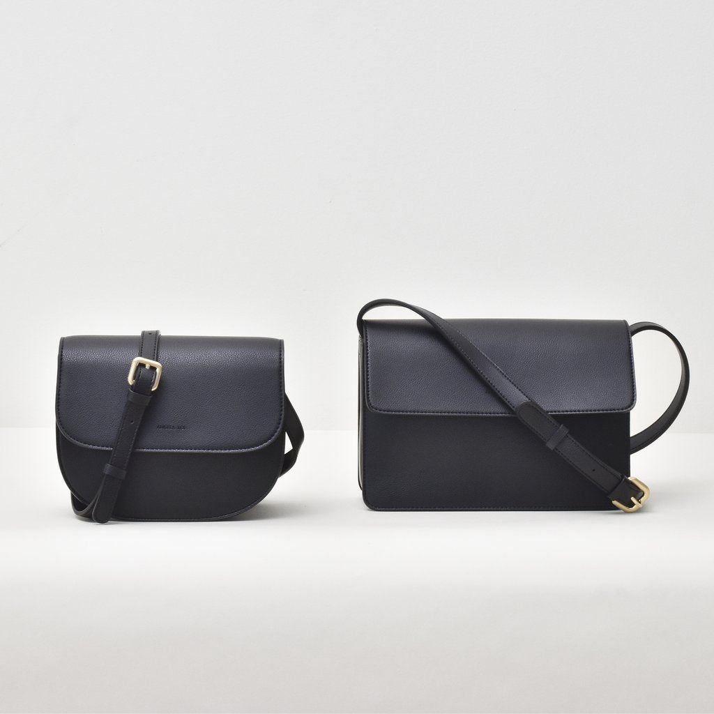 Angela Roi Vegan Hamilton Round Cross-body in Black, side by side with standard Hamilton bag