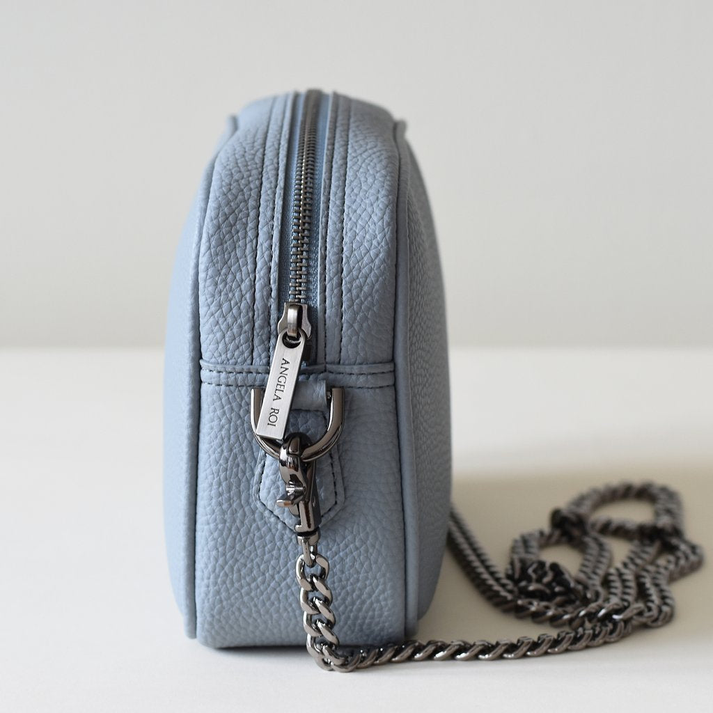 Grace Mini Cross-body in Light Nude Blue side view