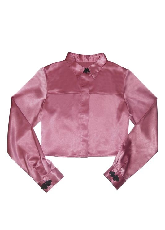 Delores Haze eco-friendly pink Thea Cropped Button-down, front view