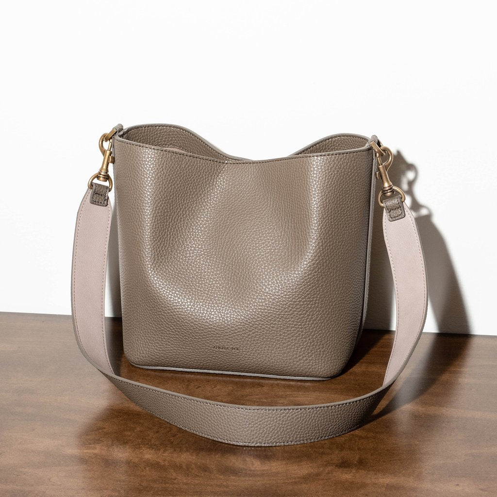 Angela Roi Vegan Angelou Mini Bucket in Ash Brown, Front View