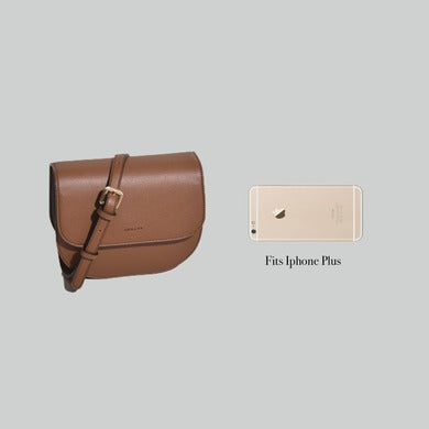 Angela Roi Vegan Hamilton Round Cross-body in Brown, side-by-side with iPhone