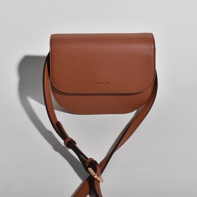 Angela Roi Vegan Hamilton Round Cross-body in Brown, front view