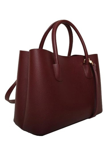 Angela Roi Vegan Cher Tote in Bordeaux, 3/4 view with strap