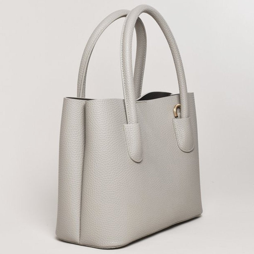 Angela Roi Vegan Cher Tote Mini in Light Grey, 3/4 view