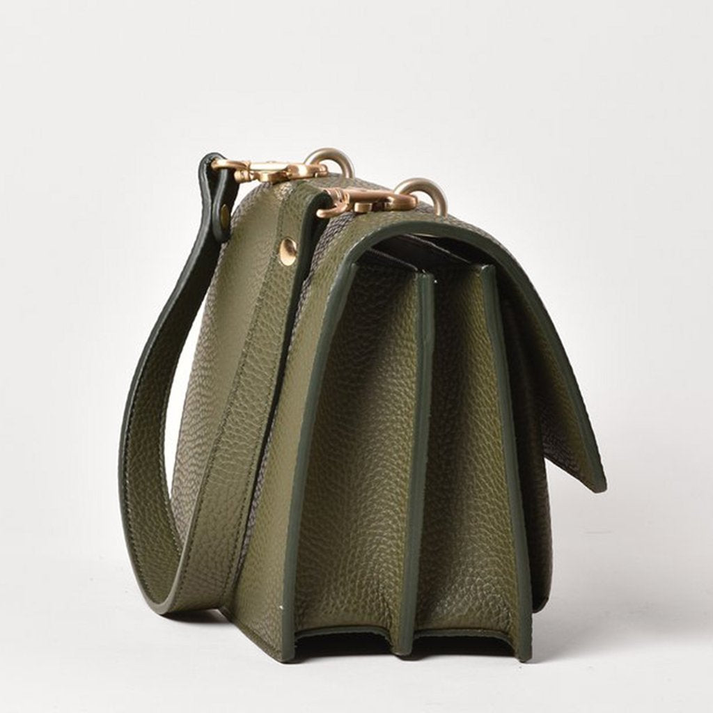 Angela Roi Vegan Eloise Satchel in Deep Olive, side view