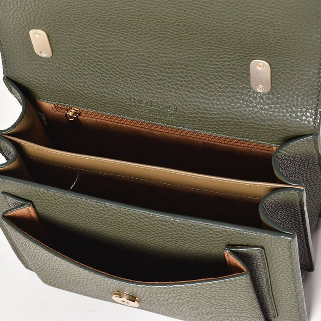 Angela Roi Vegan Eloise Satchel in Deep Olive, top view