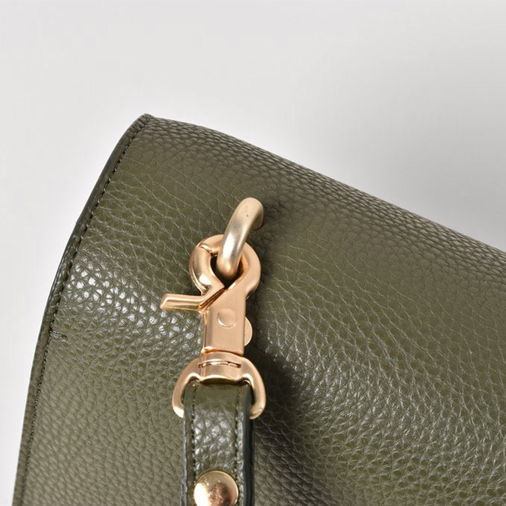 Angela Roi Vegan Eloise Satchel in Deep Olive, hardware close up