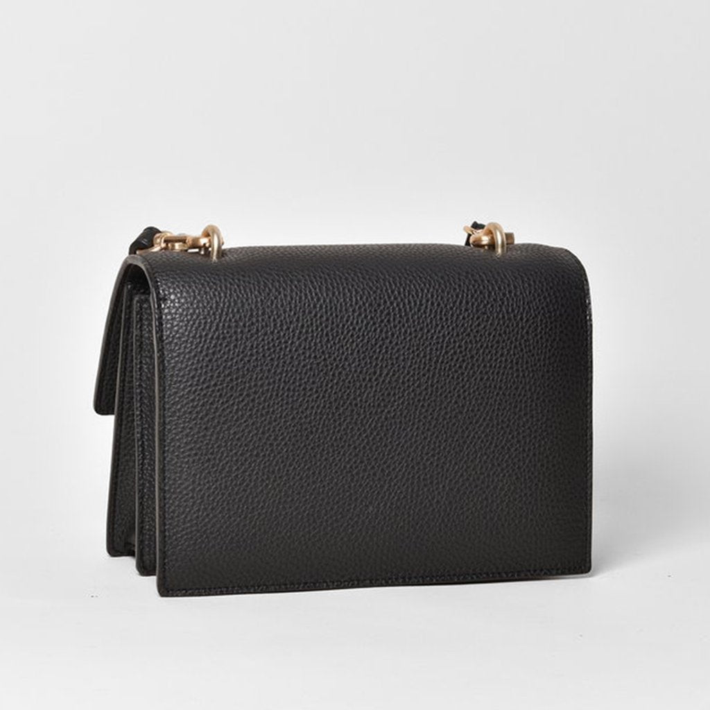 Angela Roi Vegan Eloise Satchel in Black, back view