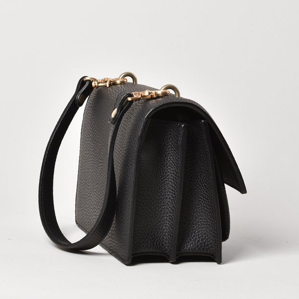 Angela Roi Vegan Eloise Satchel in Black, side view