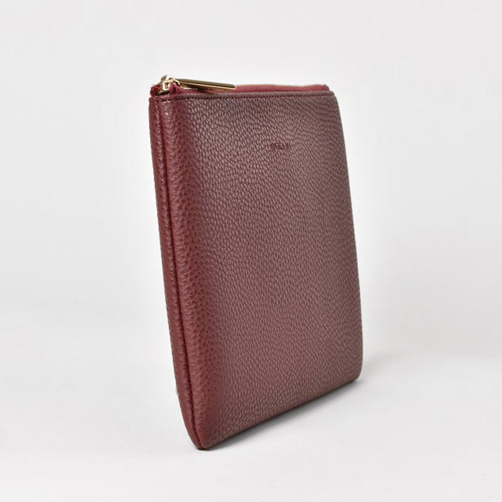 Angela Roi Vegan Zuri Travel Pouch in Bordeaux, side view