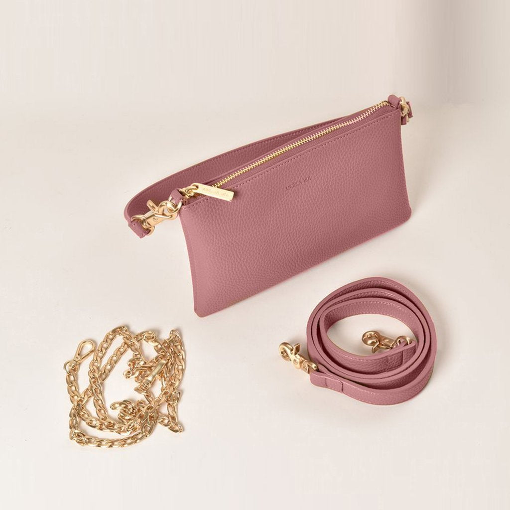Angela Roi Vegan Zuri Multifunction Pouch in Nude Pink, with chain and strap