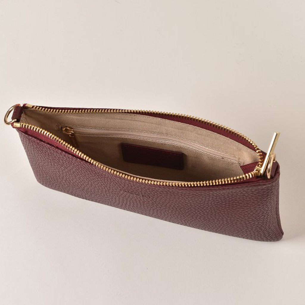 Angela Roi Vegan Zuri Multifunction Pouch in Bordeaux, top view (open)