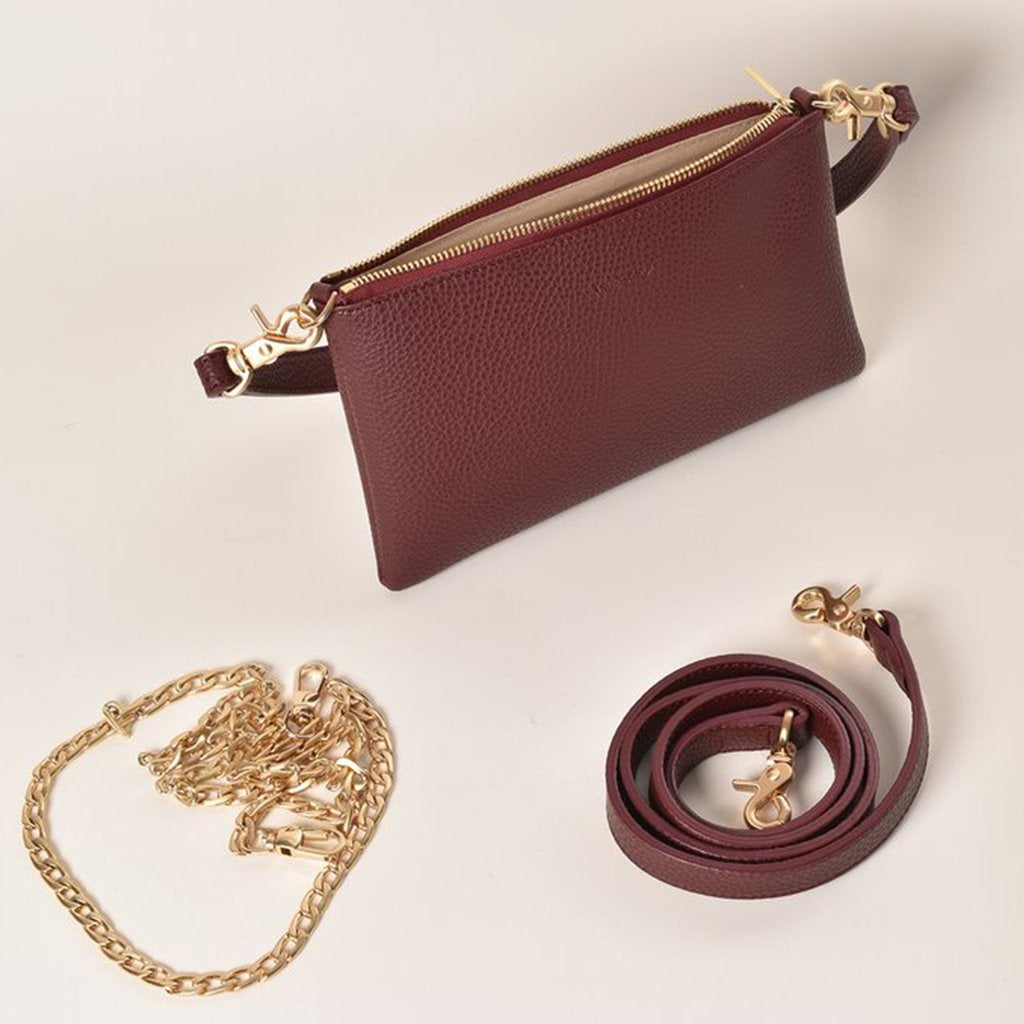 Angela Roi Vegan Zuri Multifunction Pouch in Bordeaux, chain and strap