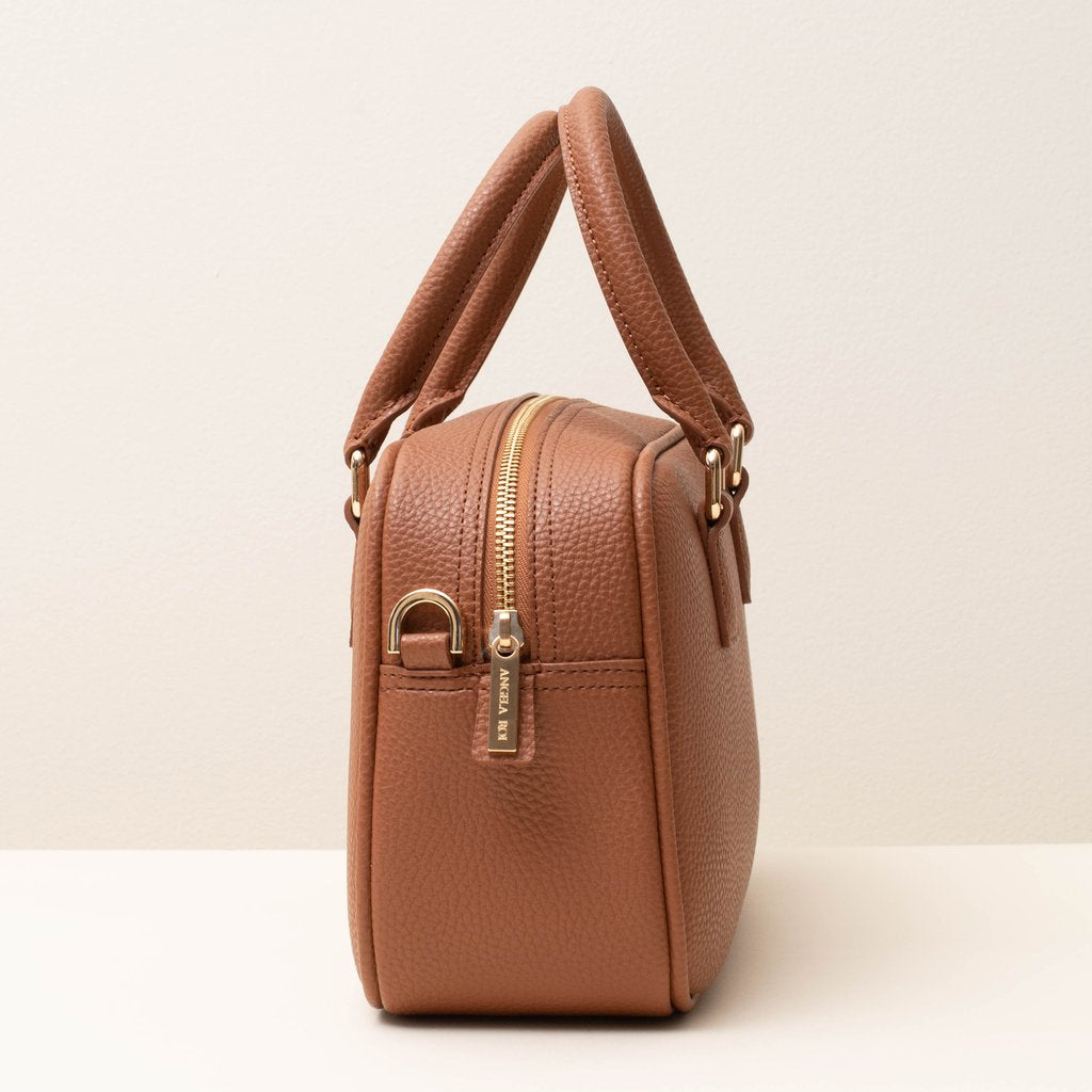 Angela Roi Barton Duffle Tote Bag in Brown, side view
