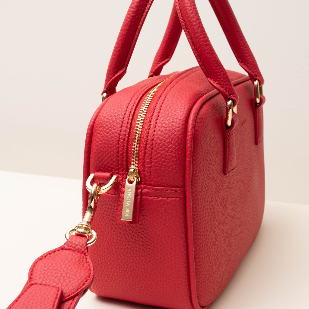 Angela Roi Vegan Barton Duffle Tote in Red, side view