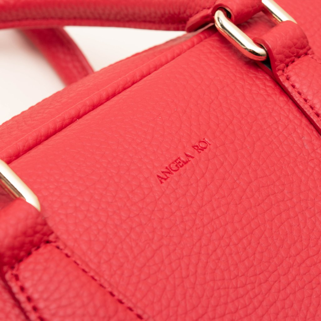 Angela Roi Vegan Barton Duffle Tote in Red, logo close up