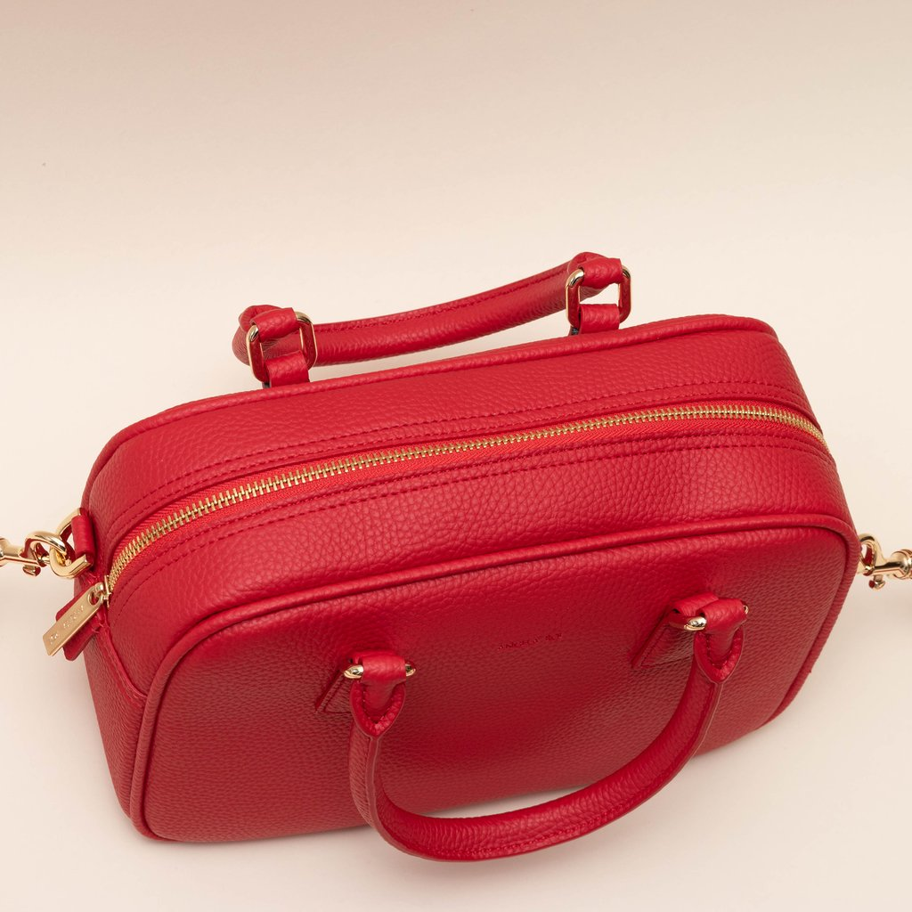Angela Roi Vegan Barton Duffle Tote in Red, top view