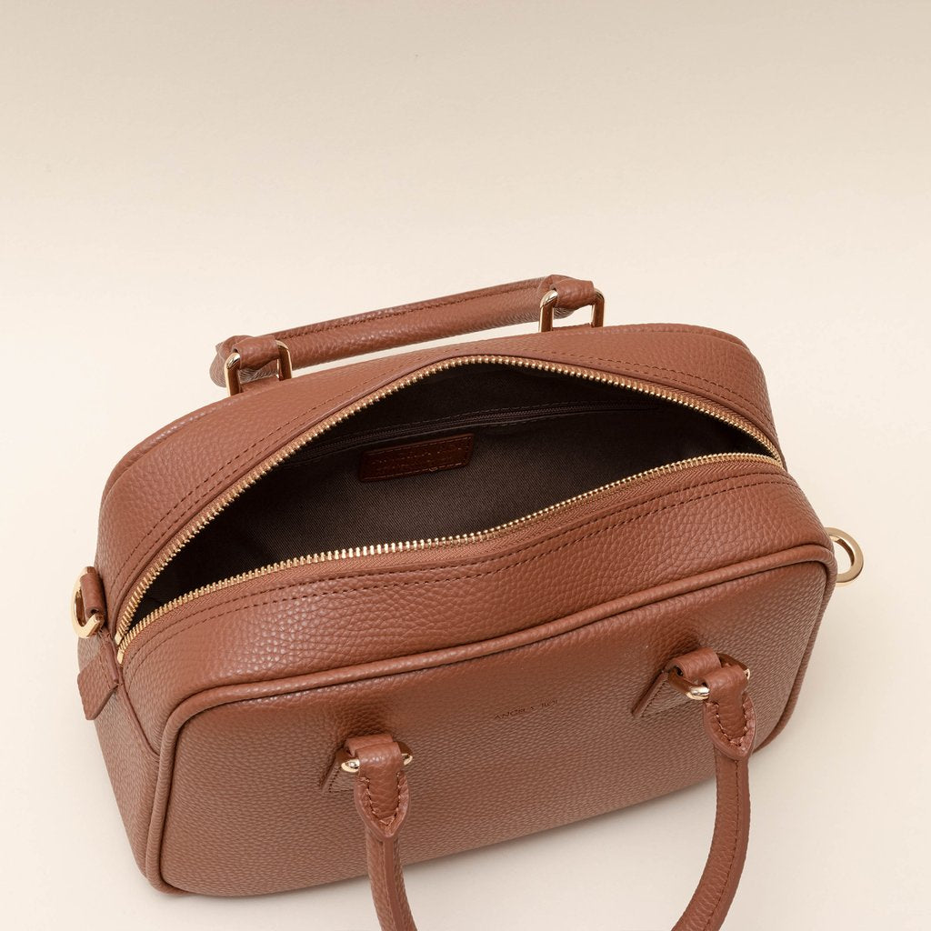 Angela Roi Barton Duffle Tote Bag in Brown, top view, open bag