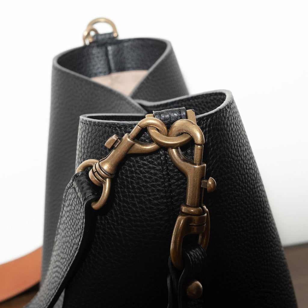 Angela Roi Vegan Angelou Mini Bucket in Black, side view close up of hardware