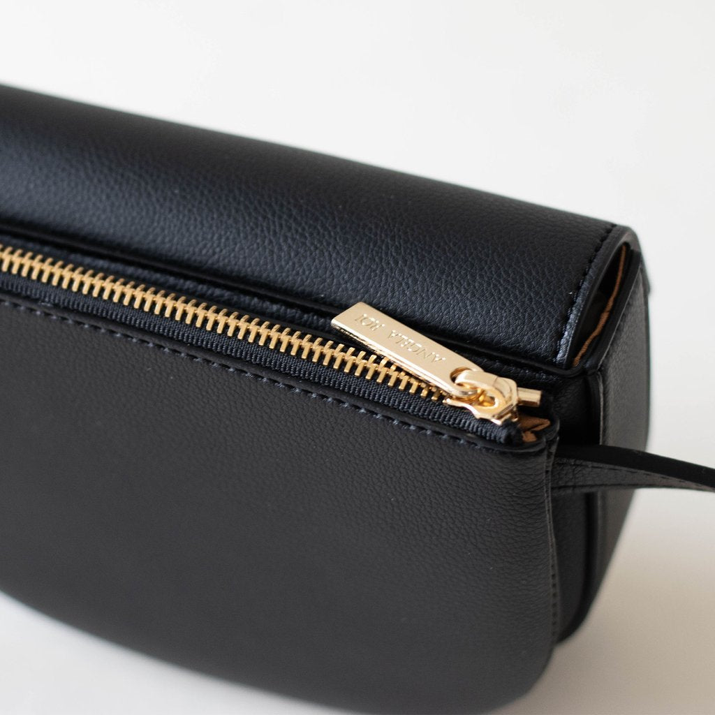 Hamilton Belt Bag / Cross-body in Black top view closed