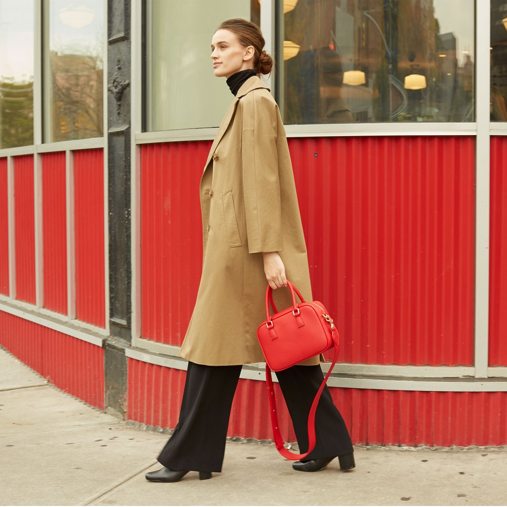 Angela Roi Vegan Barton Duffle Tote in Red, on model walking