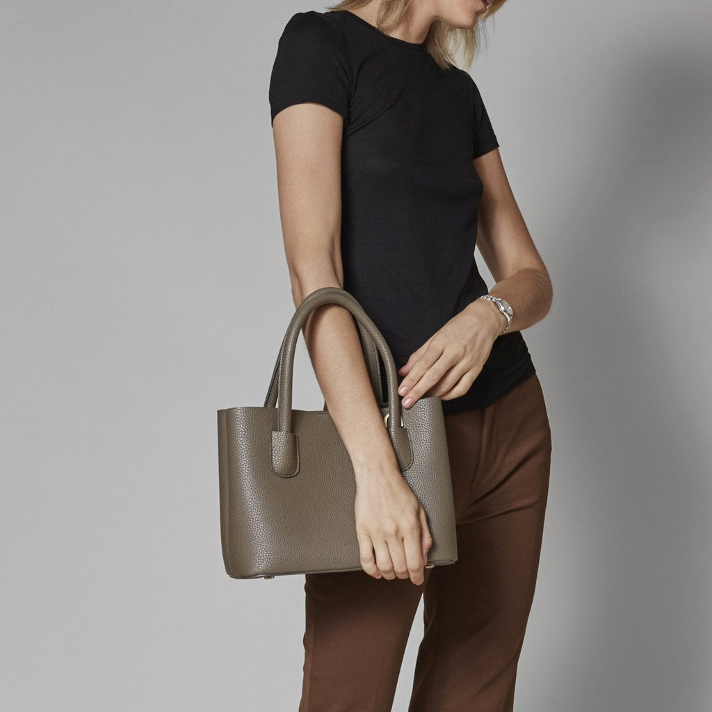 Angela Roi Vegan Cher Tote in Ash Brown, with model