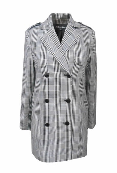 Cleo Trench by Dolores Haze, White, Black & Gold Plaid Trench Coat