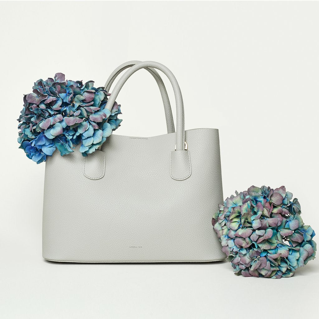 Angela Roi Vegan Cher Tote in Light Grey, with flowers