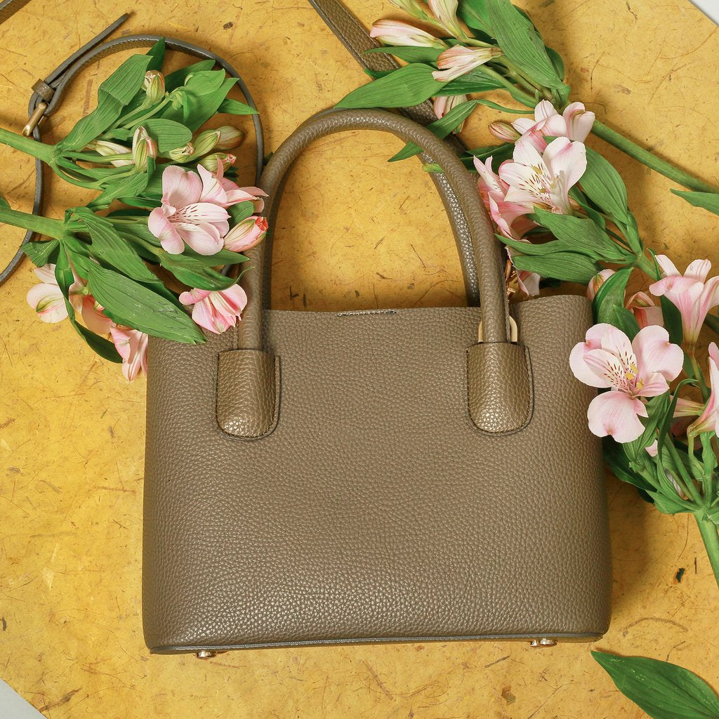 Angela Roi Vegan Cher Tote in Ash Brown, front view with flowers