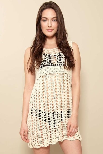 Pashen Collection Crochet dress, front view on model in bikini