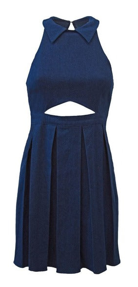 Delores Haze dark indigo Denim Karen Dress, front view